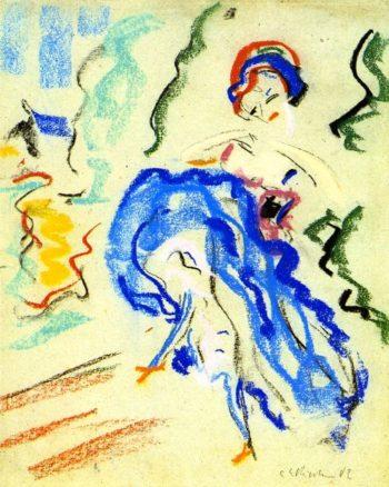 Tanzerin mit blauem Rock | Ernst Ludwig Kirchner | oil painting