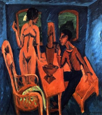 Turmzimmer Selbstbildnis mit Erna | Ernst Ludwig Kirchner | oil painting