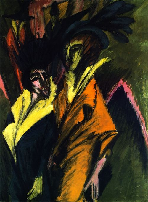Two Women on the Street   Ernst Ludwig Kirchner   oil painting