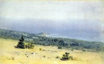View on the beach and sea from the mountains. Crimea 1880 | Kuindzhi Arhip | oil painting