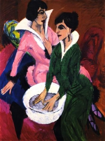 Two Women with a Washbasin | Ernst Ludwig Kirchner | oil painting