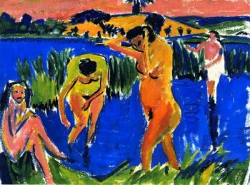 Vier Badende | Ernst Ludwig Kirchner | oil painting