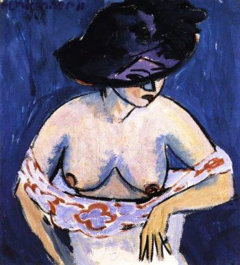 Weiblicher Akt mit Hut | Ernst Ludwig Kirchner | oil painting