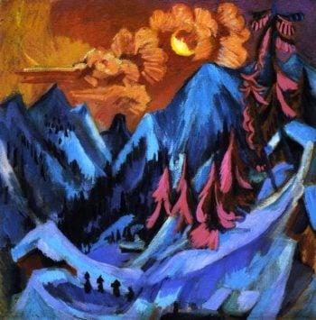 Wintermondlandschaft | Ernst Ludwig Kirchner | oil painting