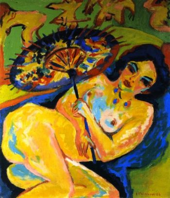 Young Woman under a Japanese Umbrella | Ernst Ludwig Kirchner | oil painting