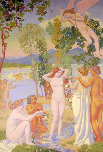 Cupid in Flight is Struck by the Beauty of Psyche | Maurice Denis | oil painting