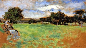 Madame Hessel Sitting in a Meadow in Normandy | Edouard Vuillard | oil painting