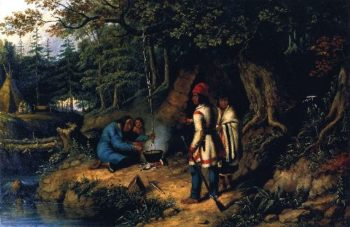 A Caughnawage Indian Encampment | Cornelius Krieghoff | oil painting