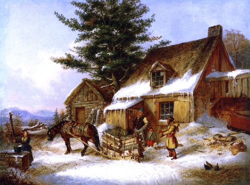 Bargaining for a Load of Wood | Cornelius Krieghoff | oil painting