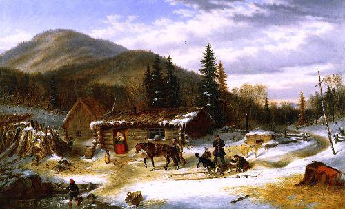 Bringing in the Deer | Cornelius Krieghoff | oil painting