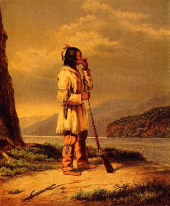 Calling Moose Huron Indian | Cornelius Krieghoff | oil painting