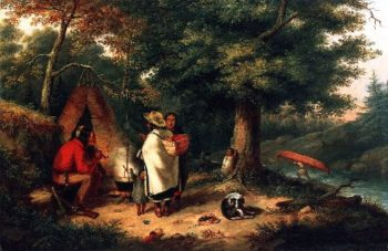 Caughnawaga Indian Encampment at a Portage | Cornelius Krieghoff | oil painting