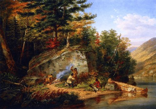 Chippewa Indians at Lake Huron | Cornelius Krieghoff | oil painting