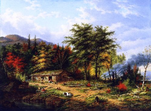 Clearing Land near the St Maurice River | Cornelius Krieghoff | oil painting