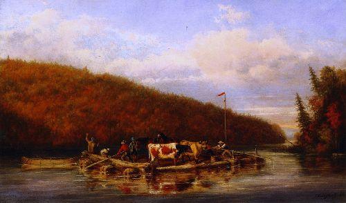 Crossing Cattle for Lumbering Purposes | Cornelius Krieghoff | oil painting
