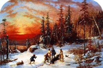 Death of the Moose at Sunset Lake Famine South of Quebec | Cornelius Krieghoff | oil painting