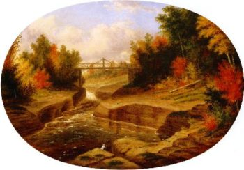 Derys Bridge Salmon Leap Jacques Cartier River | Cornelius Krieghoff | oil painting