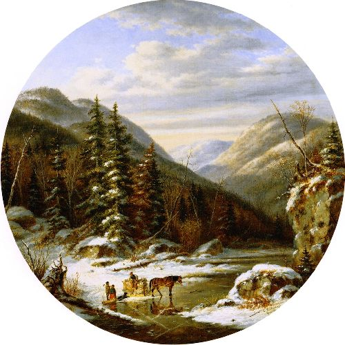 Early Winter on the St Annes below Quebec | Cornelius Krieghoff | oil painting