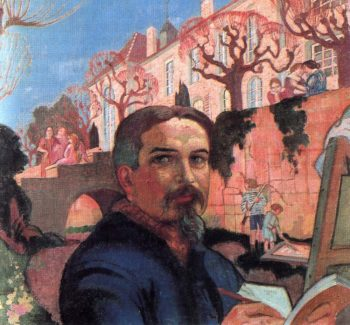 Self Portrait with his Family in Front of Their House | Maurice Denis | oil painting