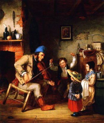 Fiddler and Boy Doing Jig | Cornelius Krieghoff | oil painting