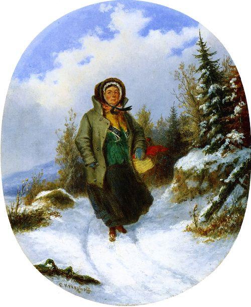 Going to Market   Cornelius Krieghoff   oil painting