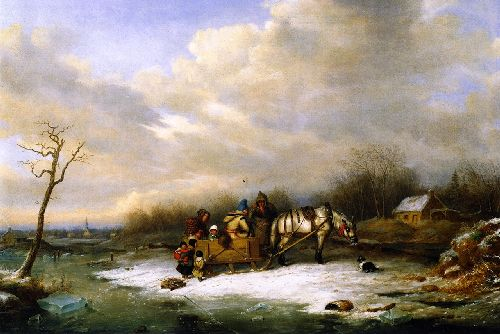 Habitant Family with Horse and Slei | Cornelius Krieghoff | oil painting