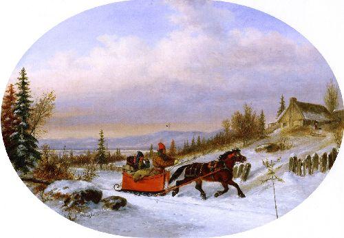 Habitants Returning from Town | Cornelius Krieghoff | oil painting
