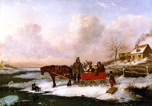 Hebitant Sleigh View near the Canada Line | Cornelius Krieghoff | oil painting