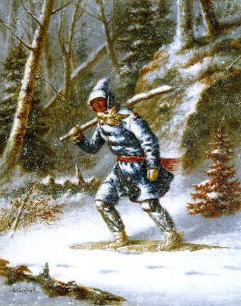 Hunter in a Blizzard | Cornelius Krieghoff | oil painting