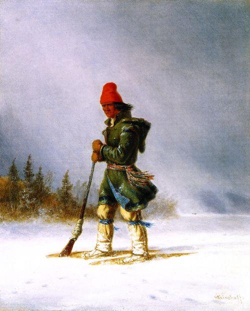 Hunter Resting Gun on a Showshoe   Cornelius Krieghoff   oil painting