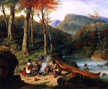 Huron Indians at Portage | Cornelius Krieghoff | oil painting