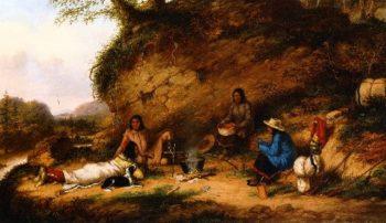 Indian Encampment at Big Rock | Cornelius Krieghoff | oil painting