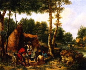 Indian Encampment by a River | Cornelius Krieghoff | oil painting