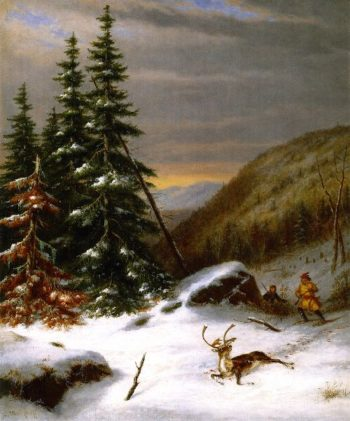 Indians Hunting a Caribou | Cornelius Krieghoff | oil painting