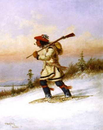 Indian Trapper on Snowshoes 1 | Cornelius Krieghoff | oil painting