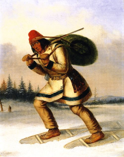 Indian Trapper on Snowshoes | Cornelius Krieghoff | oil painting