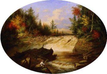 Jam of Sawlogs Shawinigan Falls | Cornelius Krieghoff | oil painting
