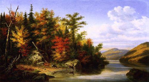 Landscape with Deer and Doe | Cornelius Krieghoff | oil painting