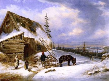 Log Cabin Winter Scene Lake St Charles | Cornelius Krieghoff | oil painting