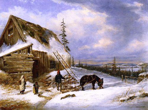 Log Cabin Winter Scene Lake St Charles | Cornelius Krieghoff | oil painting