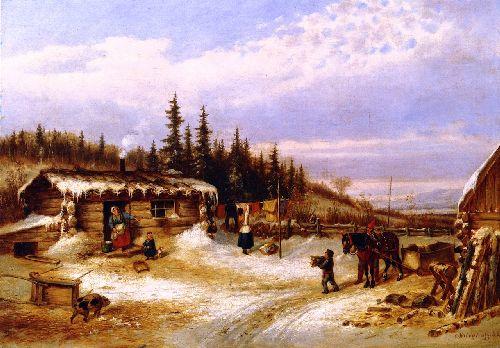 Log Hut on the St. Maurice | Cornelius Krieghoff | oil painting