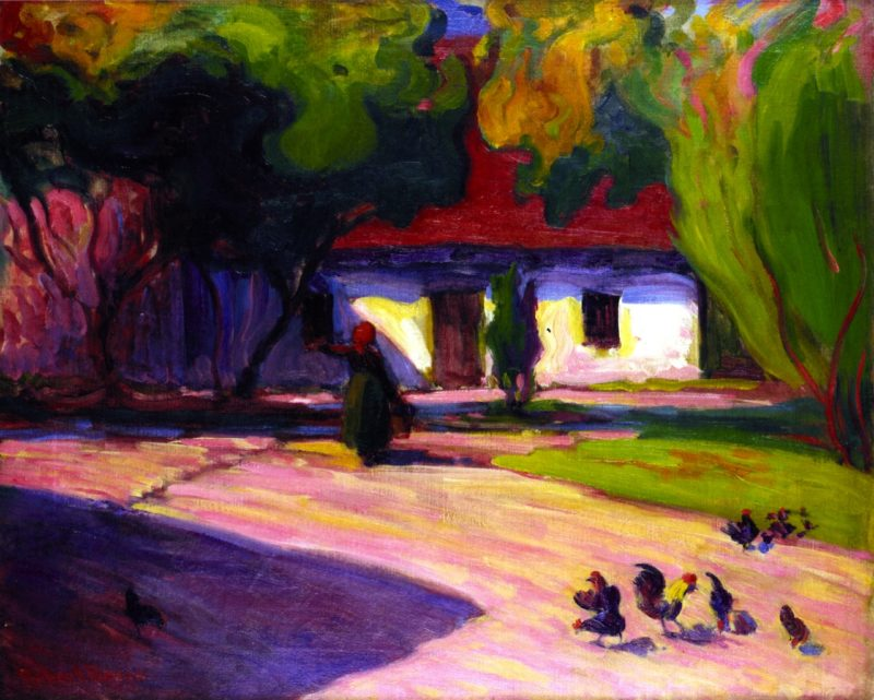 A Courtyard at Szeliwy | Robert Bevan | oil painting