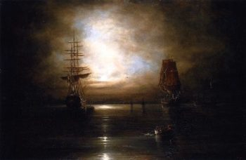 Marine View Moonlight(after Grolig) | Cornelius Krieghoff | oil painting