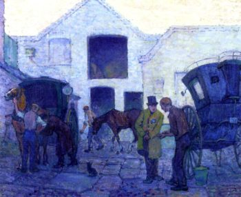 Cab Yard St John's Rood Evening | Robert Bevan | oil painting