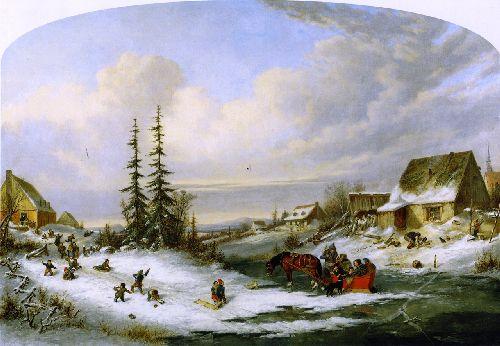 Playtime Village School   Cornelius Krieghoff   oil painting