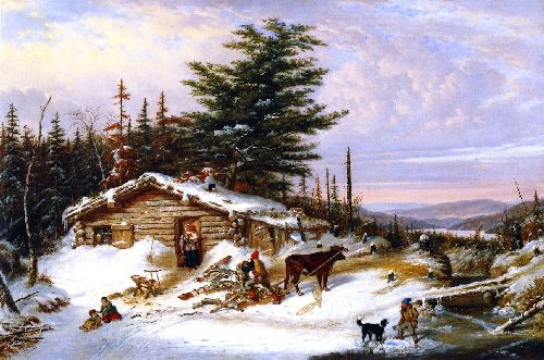 Settlers Log House   Cornelius Krieghoff   oil painting