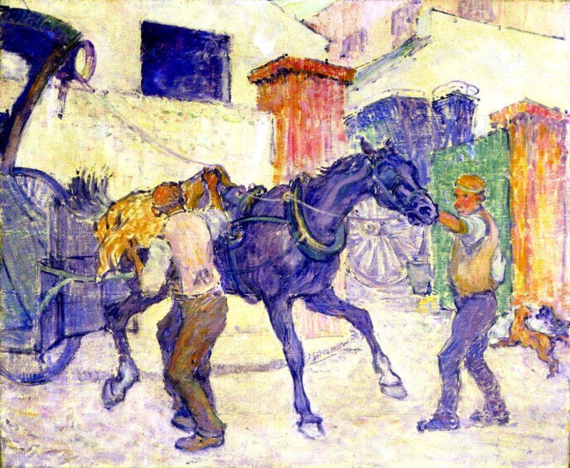 HThe Cab Horse   Robert Bevan   oil painting