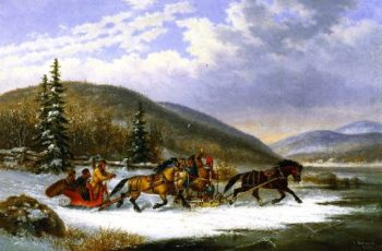 Sleigh Race across the Ice | Cornelius Krieghoff | oil painting