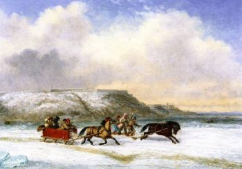 Sleigh Race on the St Lawrence at Quebec | Cornelius Krieghoff | oil painting