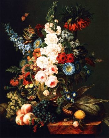 Still Life with Flowers Fruit and Corn | Cornelius Krieghoff | oil painting